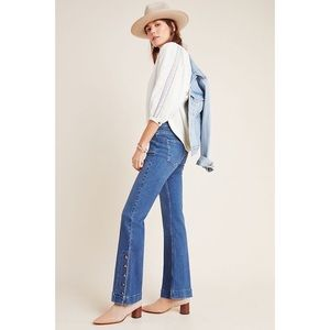 Anthropologie Pilcro High Rise Button Flare Jeans